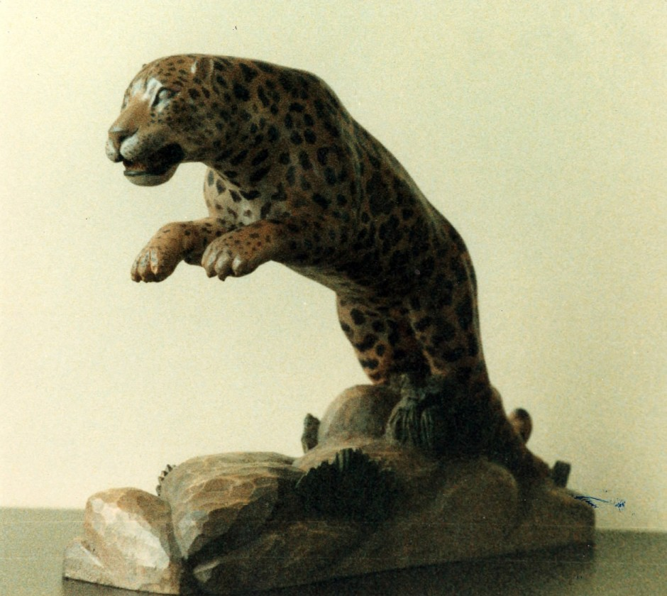 A Jaguar Carved In Sycamore, Coloured With Oils And Beeswax. - jaguar carving, wooden cat, hand carved jaguar, hand carved big cat, sycamore