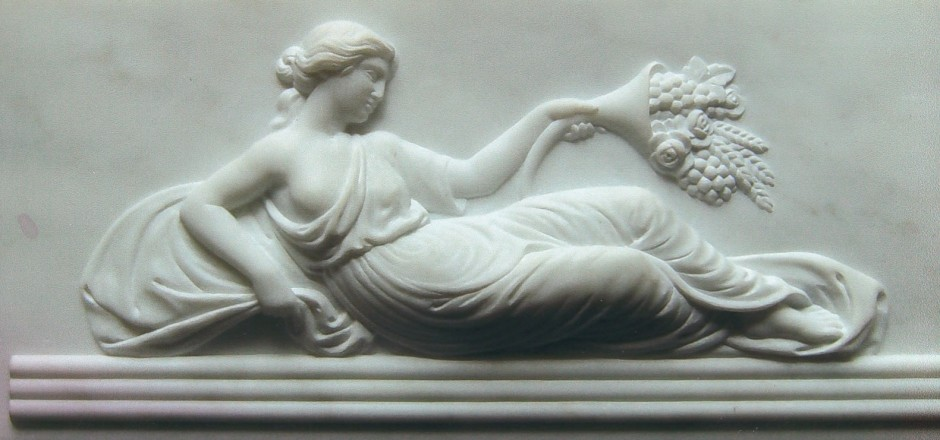 A Reclining Lady With Flower And Fruit Harvest Carved From Marble - marble reclining lady relief relief