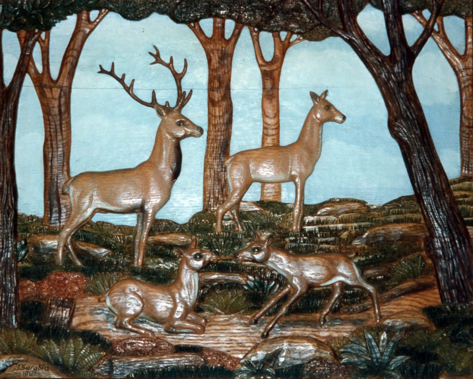 A View Of The Countryside, Polychromed. - countryside oak polychrome