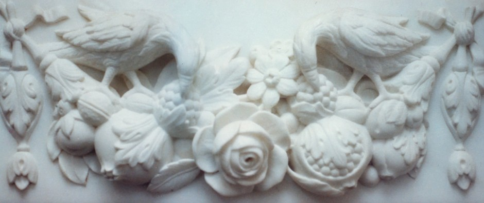 Birds, Rose And Misc Fruit With Leaves - marble, birds, flora and fauna