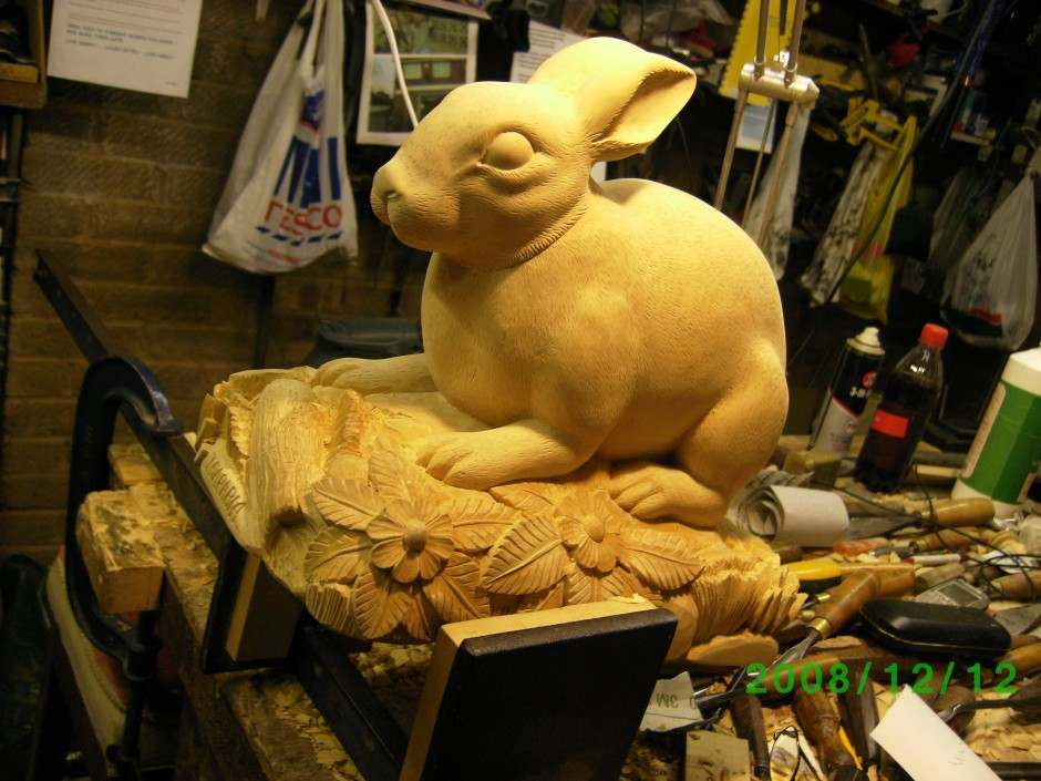 Brown Rabbit - Work in progress - brown rabbit, carved rabbit