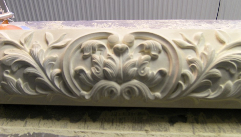 Close up detail of central area of the stone carved centrepiece - stone carved centre piece