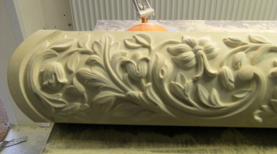 Close up of left hand side - stone carving floral detail