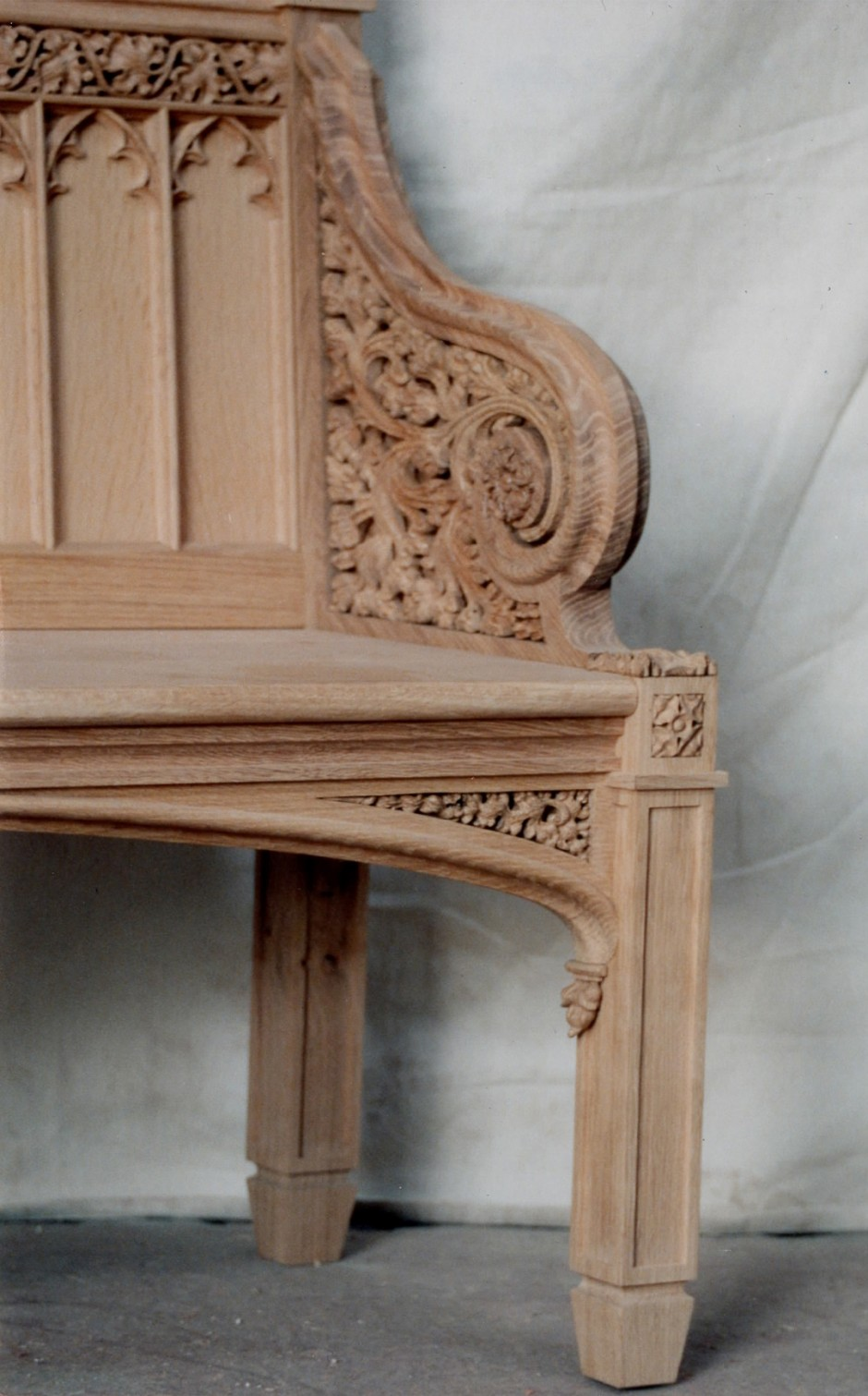 Close up showing bench arm detail - bench arm victorian