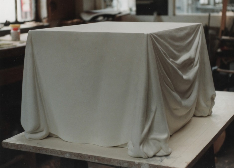 Draped Material Plinth In Stone - stone carving plinth