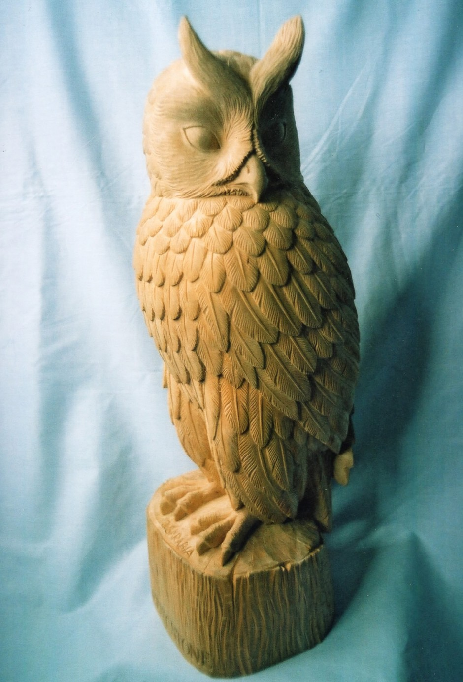 Finished Long Eared Owl - owl, long eared owl, carving, carving for casting