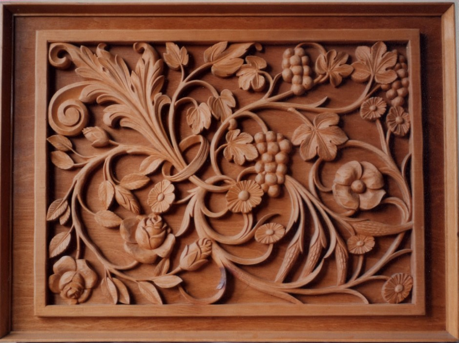 Floral Wall Plaque By Wood Carver Jose Sarabia - floral wall plaque wood carver