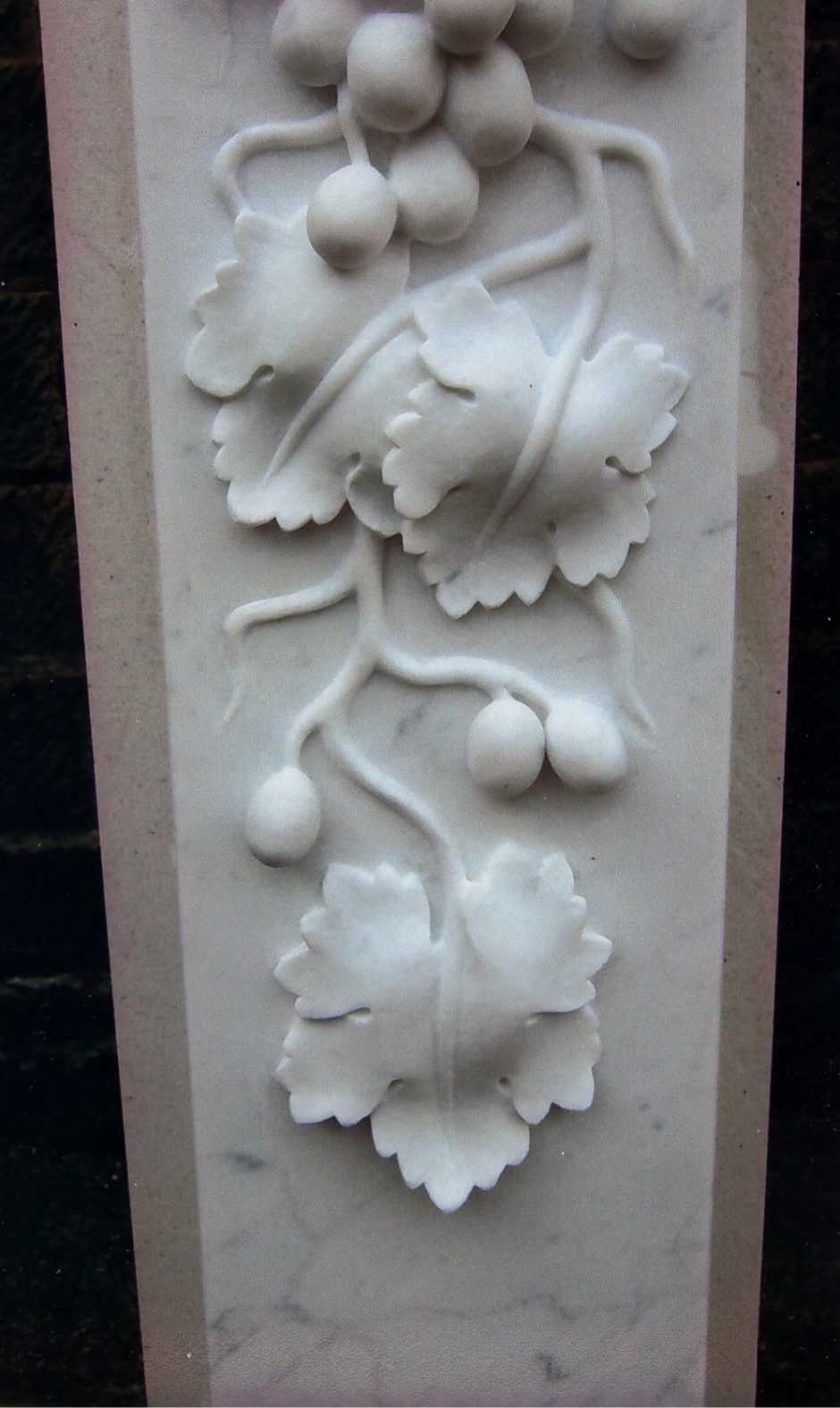 Grapes On The Vine With Vine Leaves Carved In Marble. - marble, grapes, vine, grape leaf, leaves