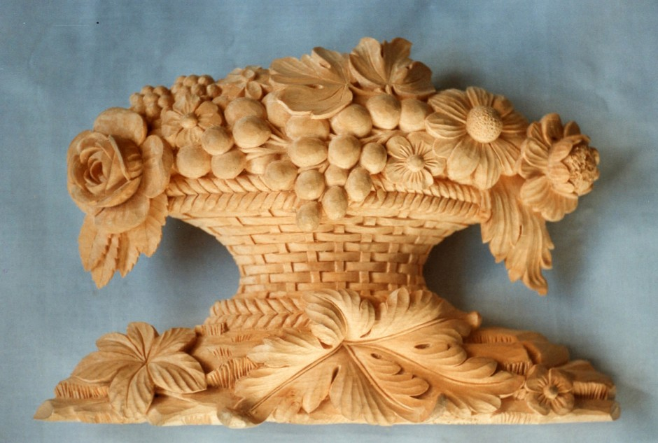 Harvest Basket In Wood - wood harvest basket, wood carving