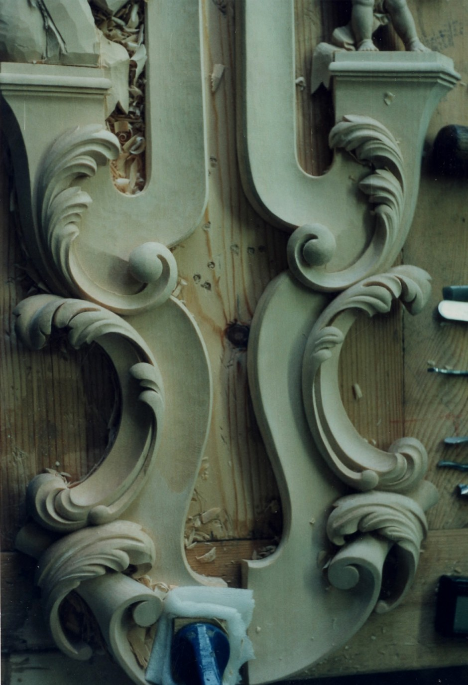 Lower mirror frame edges in progress - carving in progress mirror frame edges