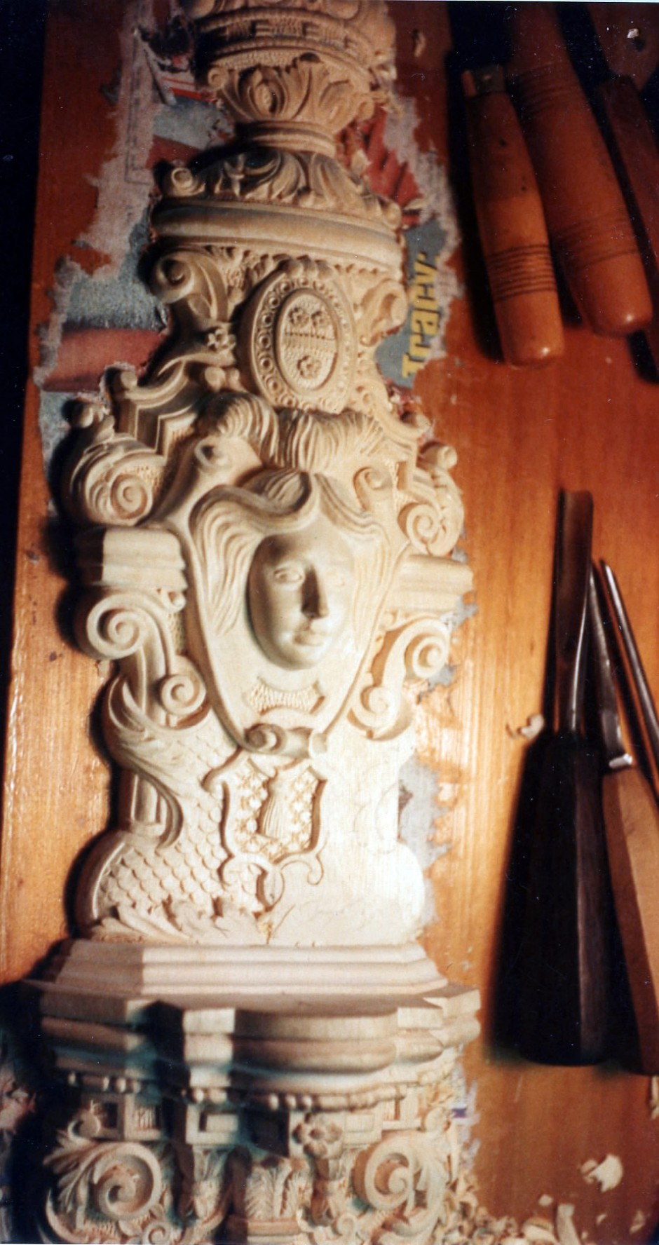 Near complete carving ahead of bronze casting - wood carving, wall light,