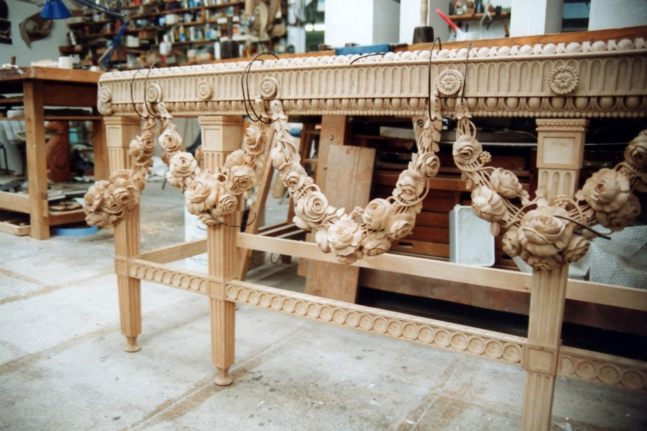 One Of Two Carved Tables - spencer house carved tables jose sarabia