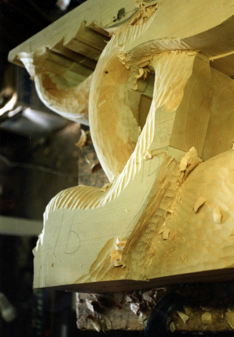 Preliminary shaping and carving - wood carving, dolphin table legs, dolphin legs, jelluton