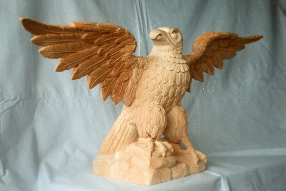 Reproduction Eagle - Three Quarter View - eagle carving jelluton wood open wings american