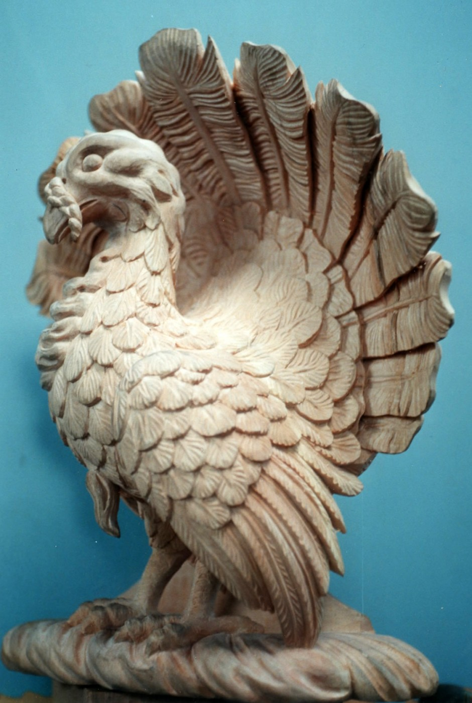 Reproduction Turkey - Three quarter view - turkey wood carving copy