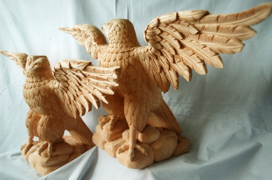 The Eagle Pair - two eagles pair of eagles wood carving jelluton