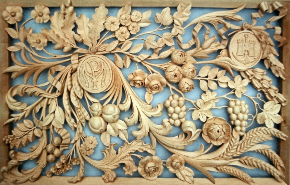 The Final Wall Plaque Featuring The Initials Of The Client - wall plaque pm mp wood carving