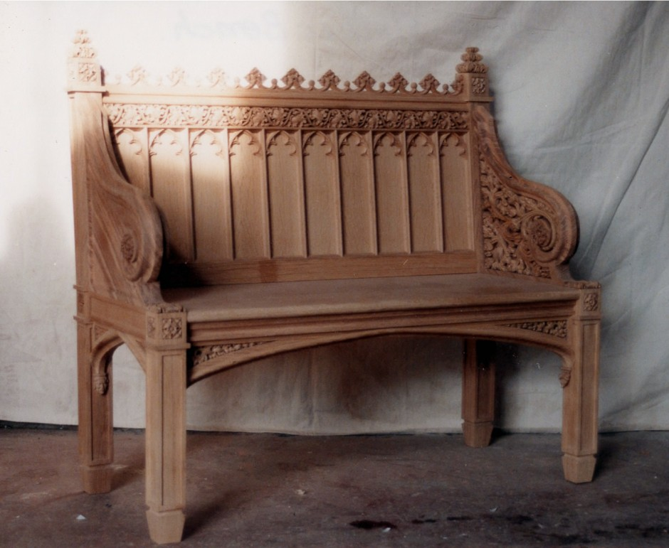 The Finished  Reproduction Victorian Oak Bench - oak bench victorian gothic