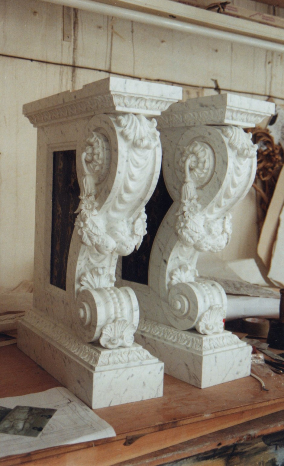 The Fully Decorated Legs With Marble Like Appearance. - marble wood yellow pine console table swags fruit shells hampton court palace