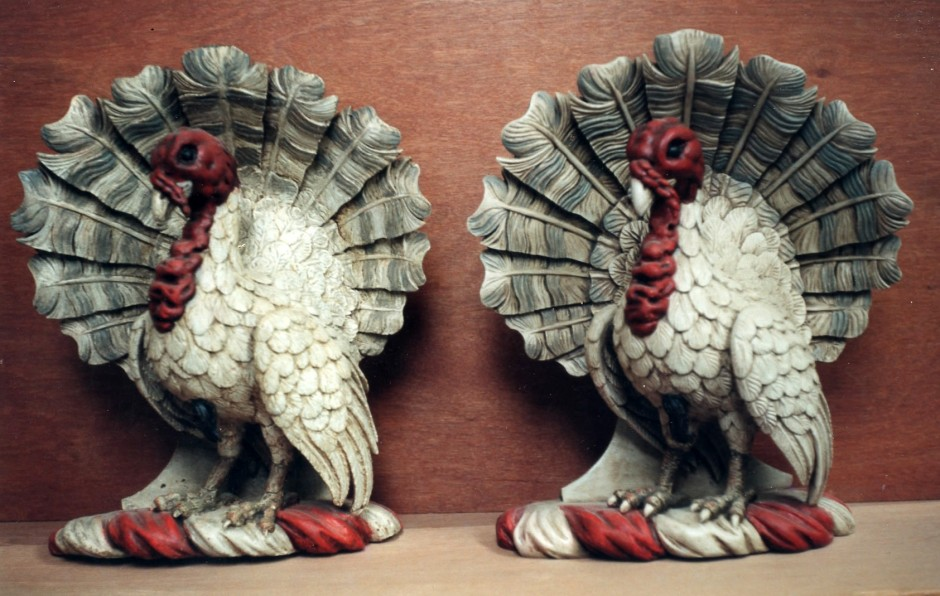 The Original And Reproduced Turkeys, Side By Side. Can You Tell The Difference? - turkey wood carved lime wood house