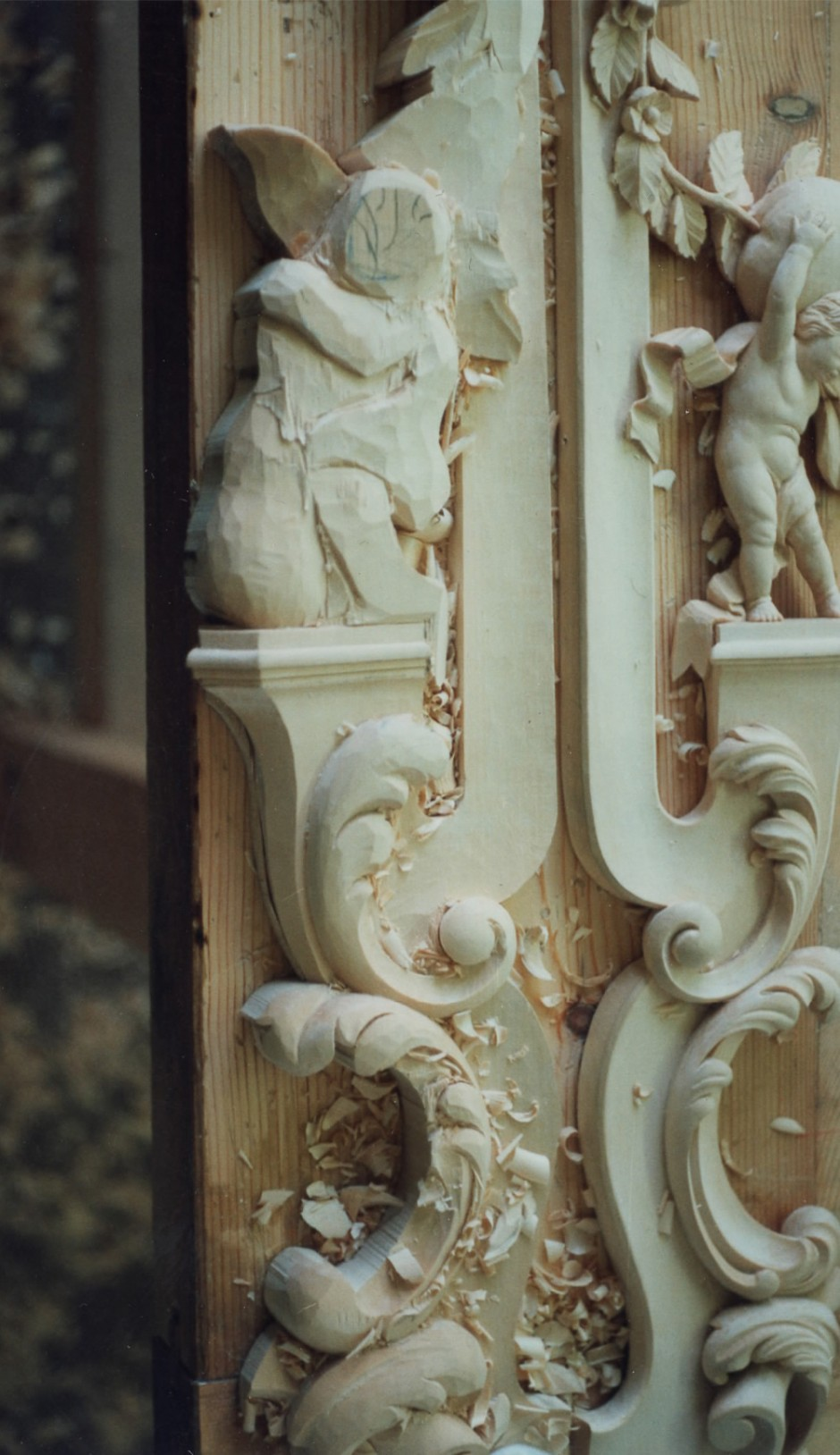 The mirror frame lower sides in progress - mirror carving how to carve cherub