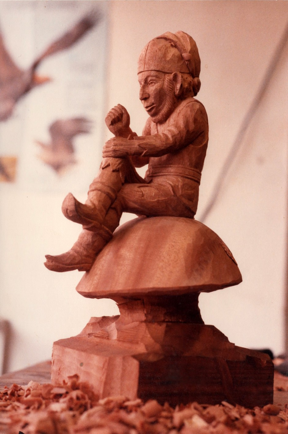 Three Quarter View Of The Gnome On His Toadstool - gnome, wood carving, wood carver