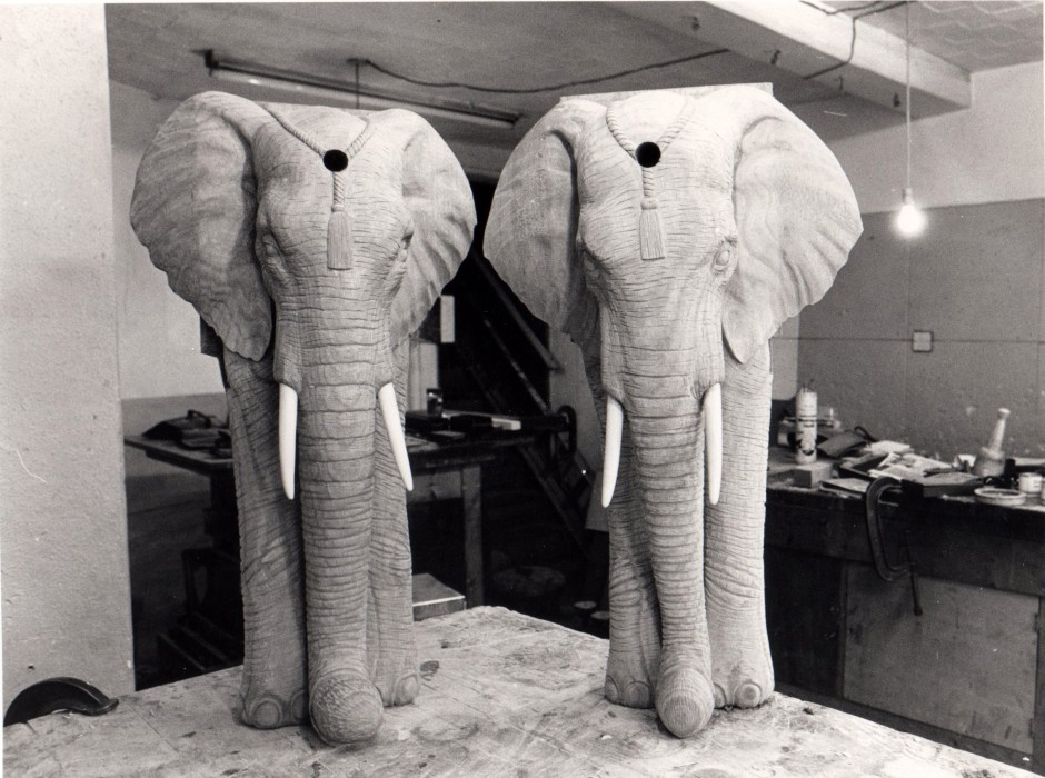 Two Of The Eight Elephant Style Table Legs - snooker table carving table legs