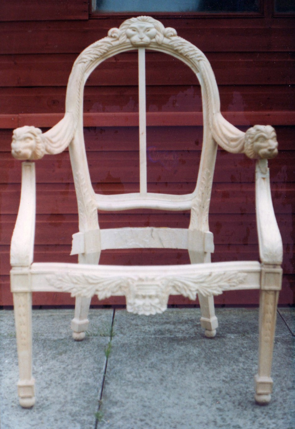 Work in progress - Chair frame assembled - chair backs elton john carved chairs