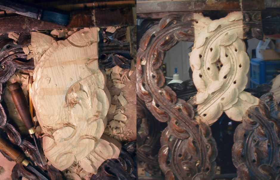 Work in progress photo showing infill and new carving in oak. - oak carving infill